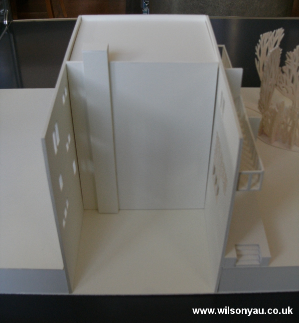 The 'shell' of the model with only exteriors walls to show the pattern of fenestration