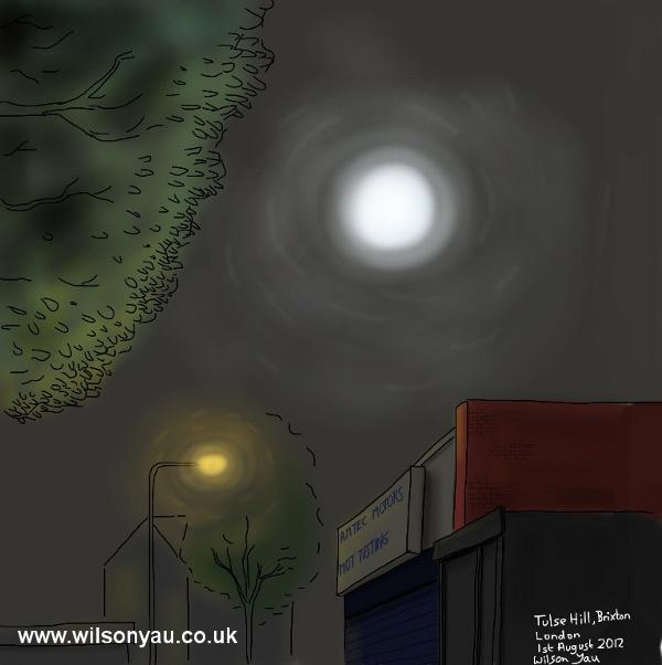 Full moon, Brixton, London, 1st August 2012