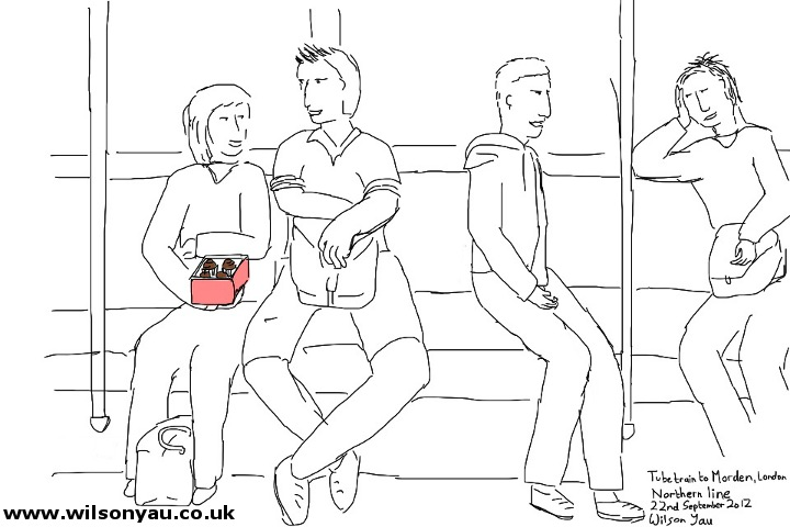 Passengers on a Northern line train to Morden, evening, 22nd September 2012