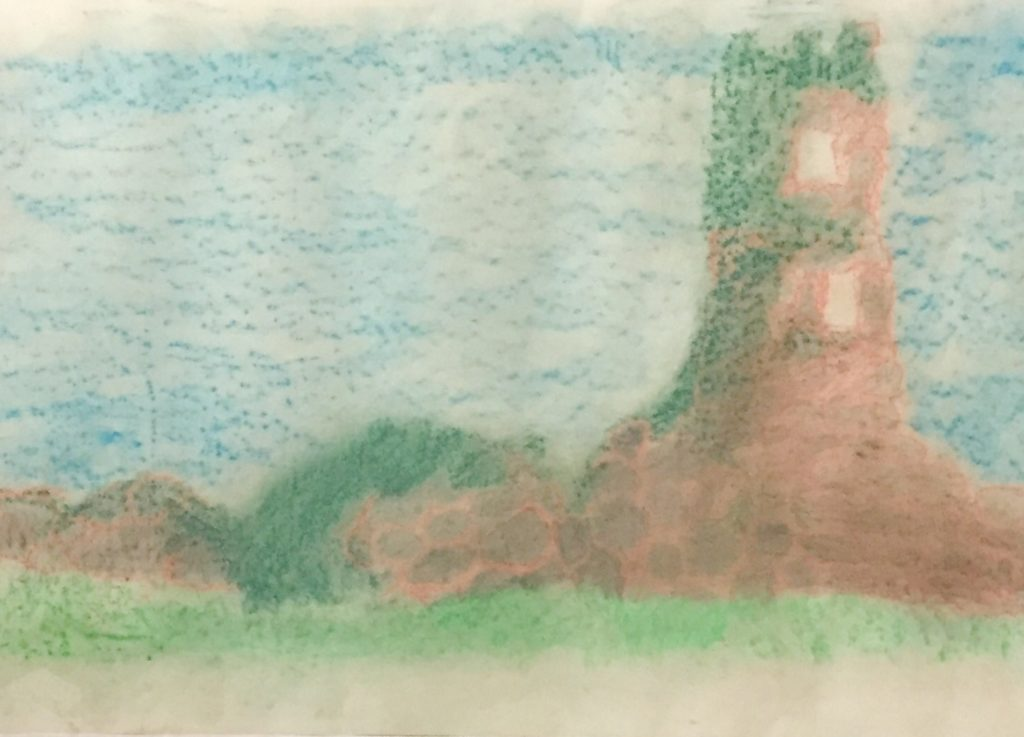 Pastel drawing of a ruined castle
