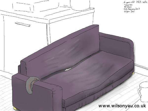 Old IKEA sofa, Brixton, 16th February 2013