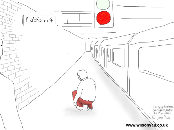 Red Trousers Farringdon London 3rd May 2013 on weird architectural drawings