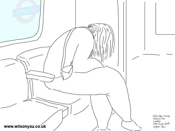 Person asleep, Victoria line, 29th June 2013