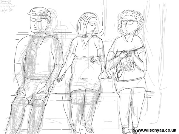 Sketch being worked over: Initial sketch: Pregnant woman and woman knitting, Victoria line, London, 16th July 2013