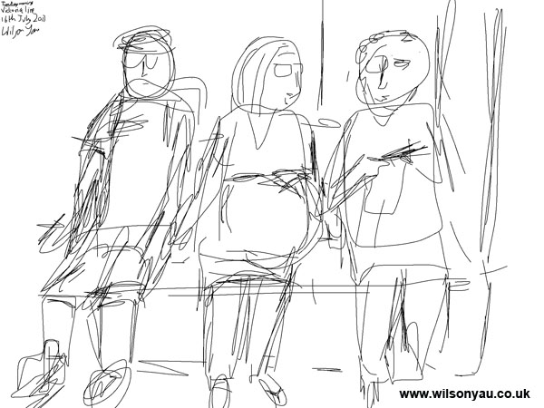 Initial sketch: Pregnant woman and woman knitting, Victoria line, London, 16th July 2013