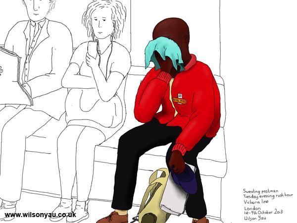 Sweating postman, Victoria line, 1st October 2013