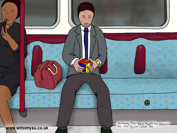 Solving a Rubik's cube, 9am Tuesday, Maida Vale to Regent's Park, Bakerloo line, 15th July 2014