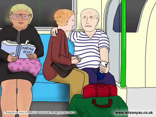 Man crying, Sunday afternoon, District line, London, 10th August 2014
