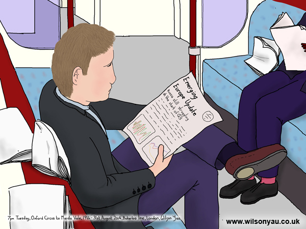Reading f inancial reports, 7pm Tuesday evening, Oxford Circus to Maida Vale, Bakerloo line, 19th August 2014