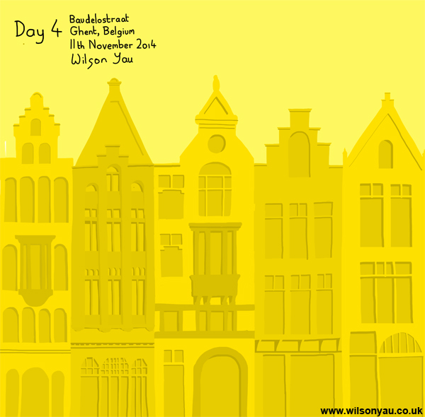 19th-century gabled houses, Baudelostraat, Ghent, Belgium
