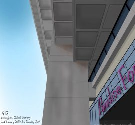 Drawing of the facade of Birmingham Central Library and entrance to Paradise Forum, 2nd January 2015. © Wilson Yau