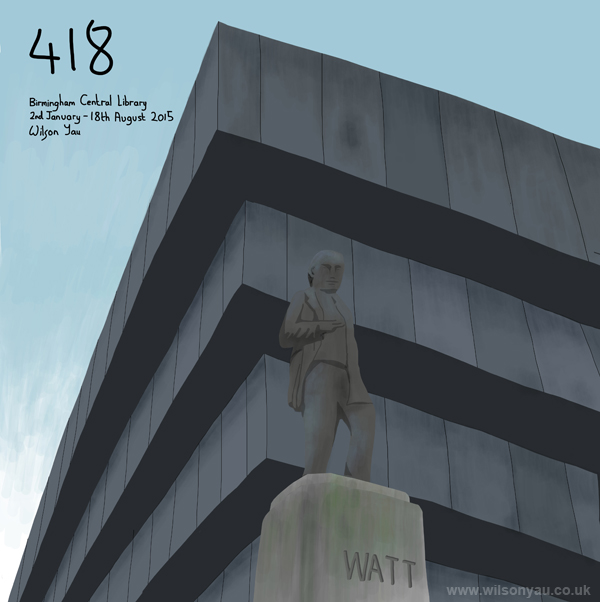 James Watt statue and Birmingham Central Library building, Birmingham, West Midland, England, 2nd January 2015 (Drawing 418)