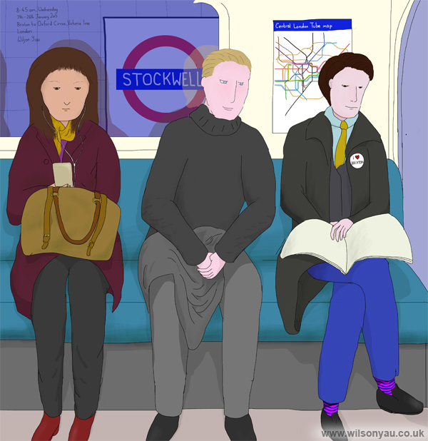 'I love Brixton', 8.45am, Wednesday morning, 7th January 2015, Brixton to Oxford Circus, Victoria line, London