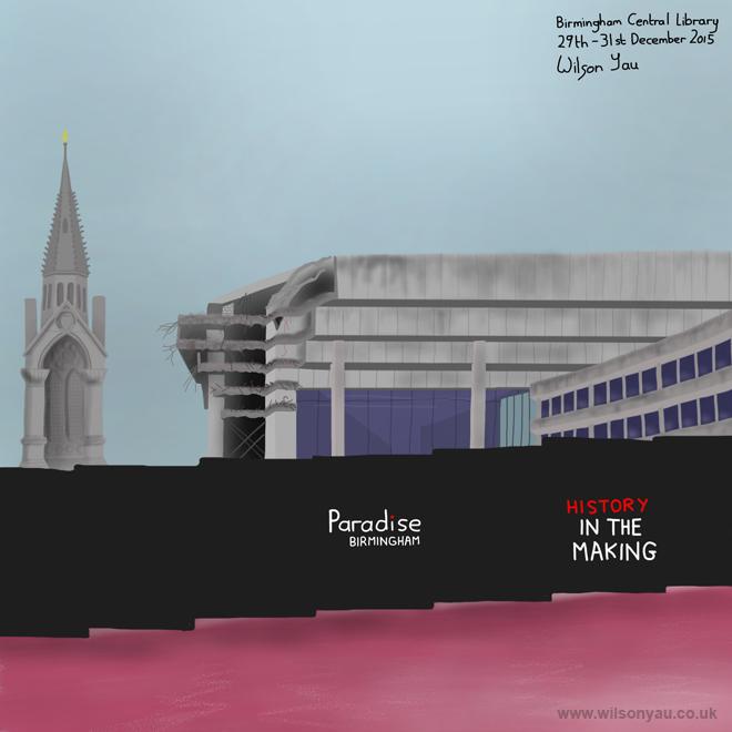 Demolition of Birmingham Central Library, Chamberlian Square, Birmingham, England, December 2015 (Drawing 587)