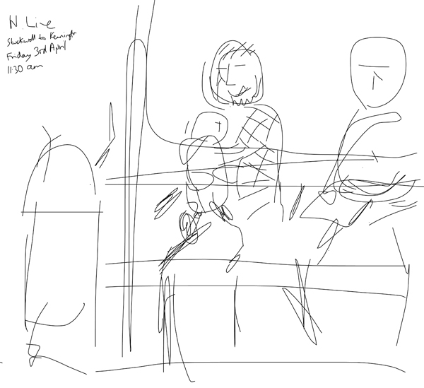 Onsite sketch of father and baby, 11.30am, Good Friday, 3rd April 2015, on a Northern line Tube train from Stockwell to Kennington station, London.