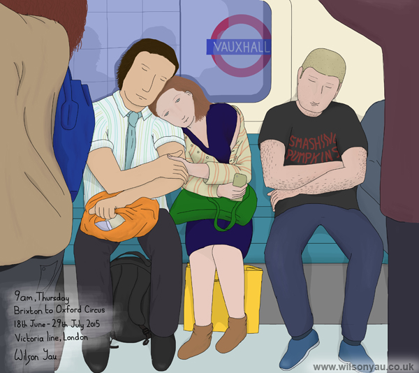 Couple and a Smashing Pumpkins t-shirt, Brixton to Oxford Circus stations, 9am Thursday, Victoria line, London, England, 18th June 2015