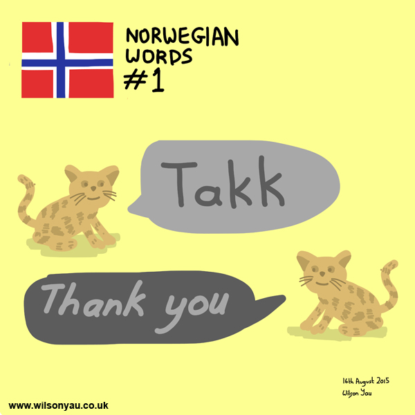 Norwegian word 1, thank you, 16th August 2015 (Drawing 525)