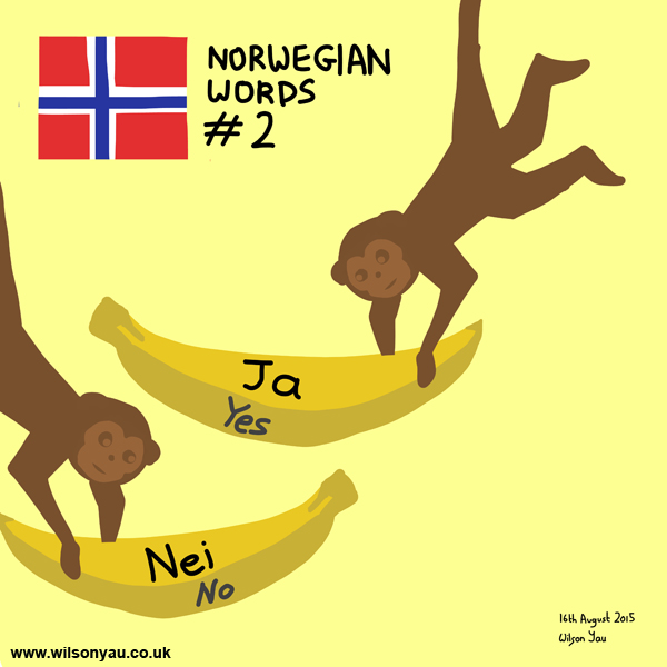 Norwegian word 2, Yes and No, 16th August 2015 (Drawing 526)