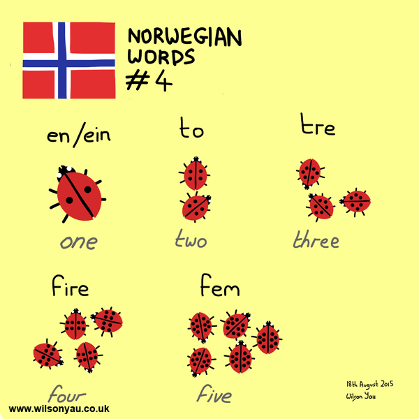 Norwegian word 4, Numbers, 18th August 2015 (Drawing 528)