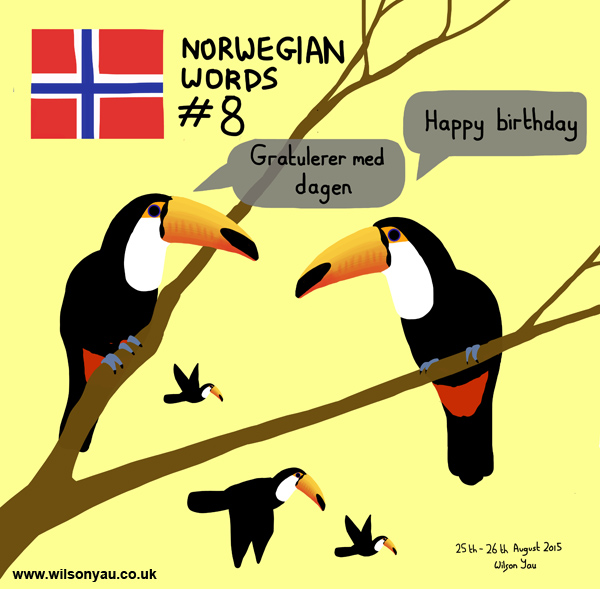 Norwegian word 8, Happy Birthday, 25th August 2015 (Drawing 533)
