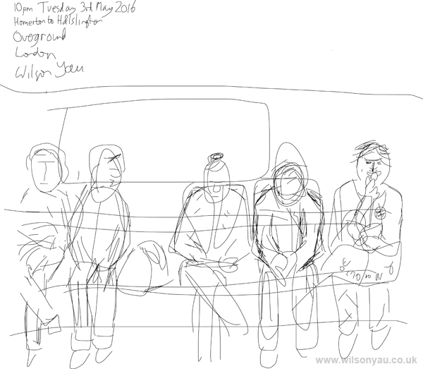 10pm Tuesday evening, Homerton to Highbury & Islington stations, Overground line, London, 3rd May 2016 (Drawing 654)