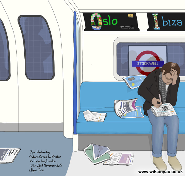 7pm, Wednesday 18th November 2015, Oxford Circus to Brixton stations, Victoria line, London
