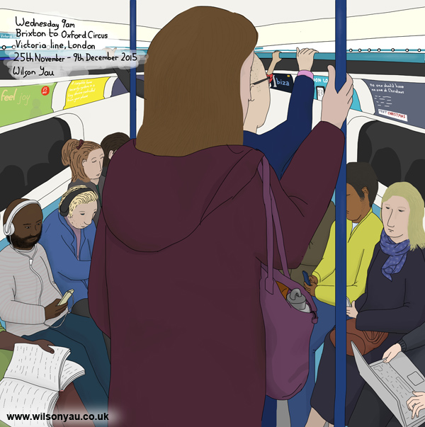 9am Wednesday morning, Brixton to Oxford Circus stations, Victoria line, London, 25th November 2015 (Drawing 575)