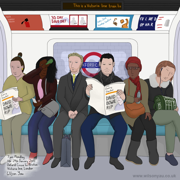 7pm Monday, Oxford Circus to Brixton stations, Victoria line, London, 11th January 2016 (Drawing 598)