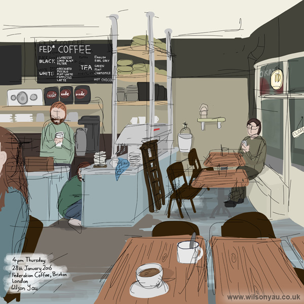 Federation Coffee, Brixton Market, London, Thursday 28th January 2016 (Drawing 601)