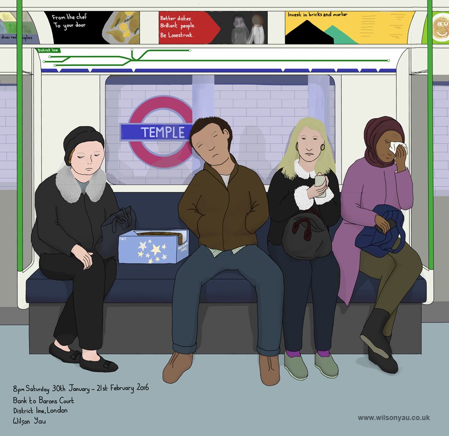 8pm Saturday evening, Bank to Barons Court stations, District line, London, England, 30th January 2016