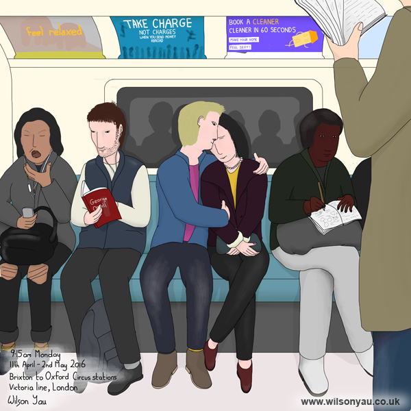 9.15am Monday 11th April 2016, Brixton to Oxford Circus stations, Victoria line, London (Drawing 640)