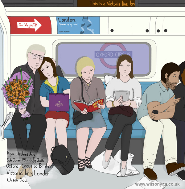 8pm Wednesday, Oxford Circus to Brixton stations, Victoria line, London, 8th June 2016 (Drawing 681)