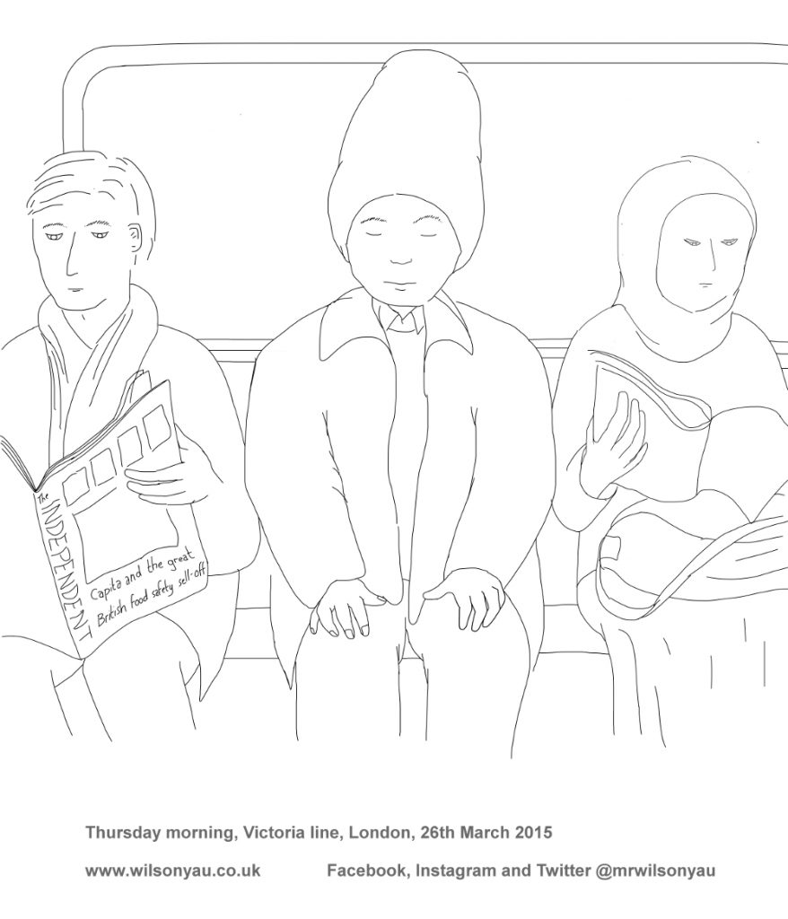 Colouring-in sheet, Thursday morning, Victoria line, London, 2015