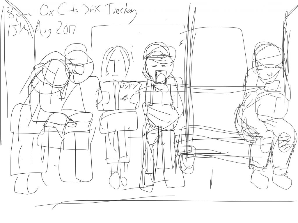 Onsite sketch of Japanese tourists, 8pm Tuesday, Oxford Circus to Brixton, Victoria line, London, England, 15th August 2017