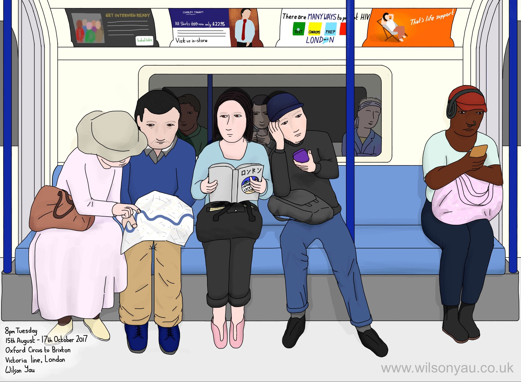 Japanese tourists, 8pm Tuesday, Victoria line, 15th August 2017