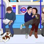 Sleeping spaniel, 7pm Tuesday, 7th November 2017, Oxford Circus to Brixton, Victoria line, London