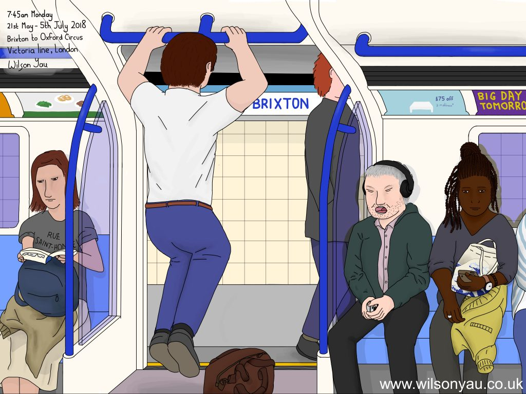 Pull ups in rush hour, 7.45am Monday, 21st May 2018, Brixton to Oxford Circus stations, Victoria line, London, England (Drawing 1115)