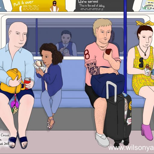 Child eating breakfast, 8.50am, Saturday 30th June 2018, Brixton to Oxford Circus stations, Victoria line, London, England (Drawing 1117)