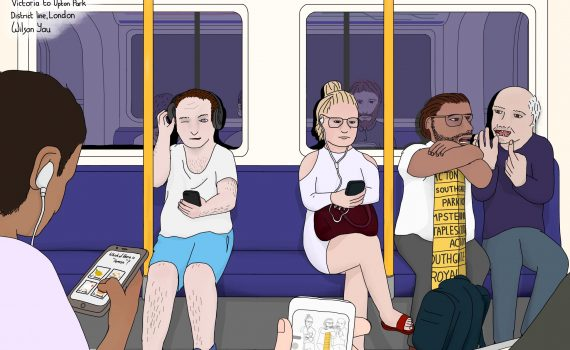 Saturday afternoon, Victoria to Upton Park, District line, London, 18th August 2018 (Drawing 1124)