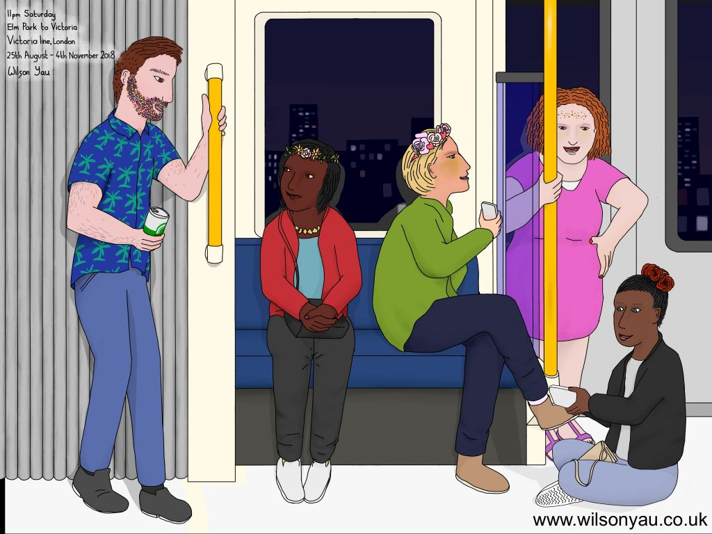 Saturday evening, Elm Park to Victoria, District line, 25th August 2018