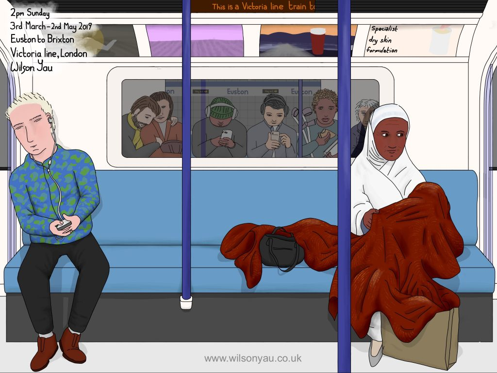Digital drawing: Victoria line, London, 2pm Sunday 3rd March 2019 (Drawing 1156)
