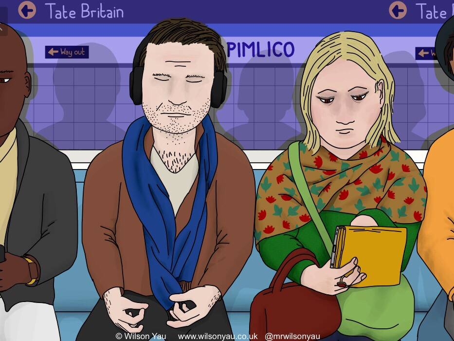 Close-up of digital drawing of a scene from the Tube, London