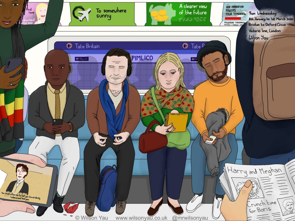 Digital drawing of a scene on the Tube, London