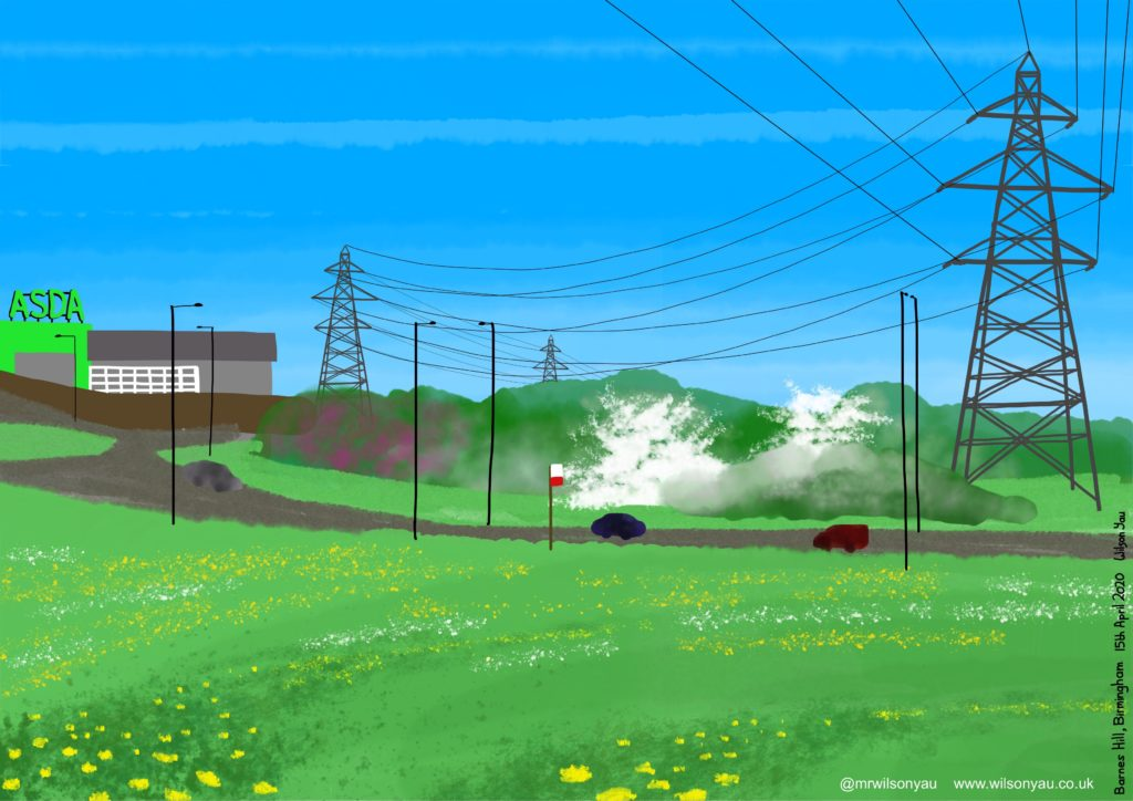 Drawing of electricty pylons, Barnes Hill, Birmingham