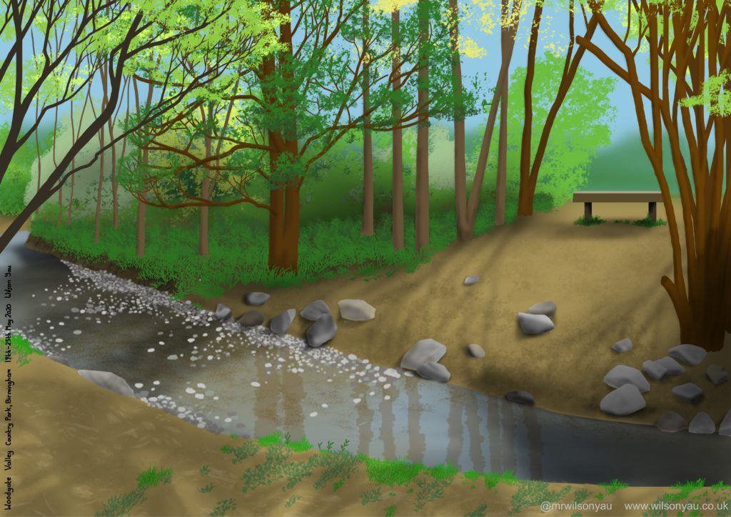iPad drawing of a river, trees and a bench