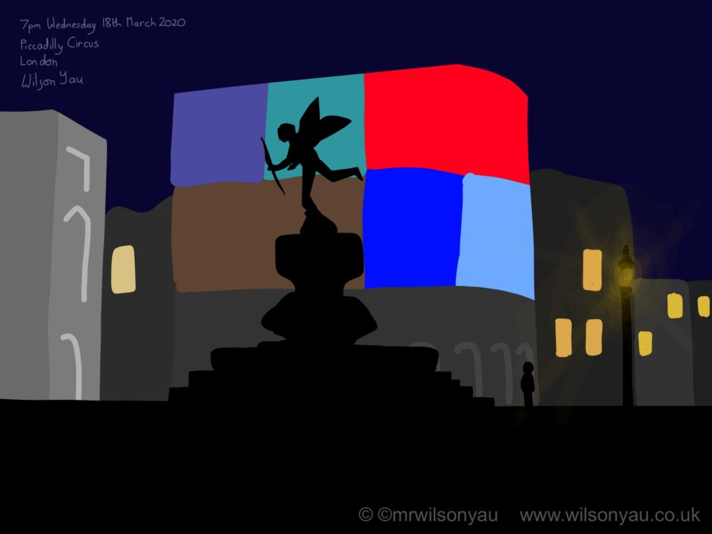 Drawing of night time at Piccadilly Circus, London, England