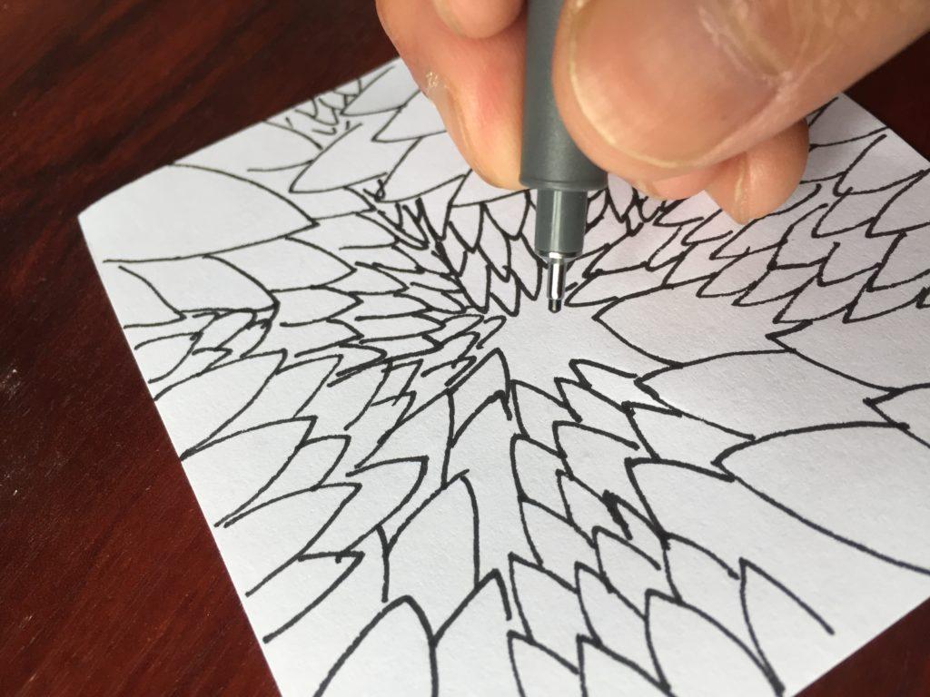 Pen drawing.
