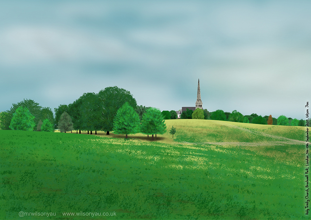 iPad drawing of Brockwell Park showing green trees and a church spire over grassy slopes.