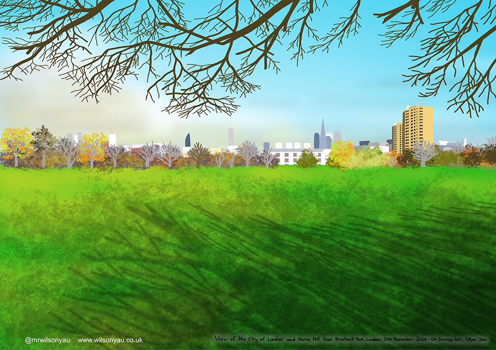 iPad drawing of an expanse of short green grass in the foreground with the shadow of trees, in the distnace is a panoramic view of the City of London and its skyscraper including the Shard.