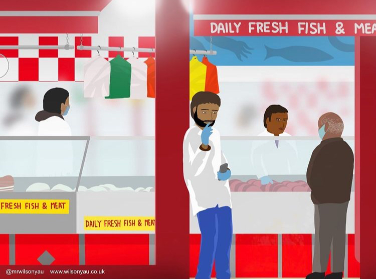 Daily Fresh Fish and Meat shop, 16 Electric Avenue, in the early evening, on the corner with Electric Lane, Brixton, London, England; drawn 8th February to 24th May 2021 on an iPad by Wilson Yau (Drawing no.1274)
